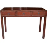 Red Three Drawer Console Table