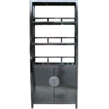 Black Chinese Bookcase with Cupboard