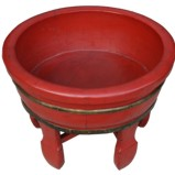 Red Chinese Wood Basin with Stand