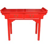 Red Everted End Console Table