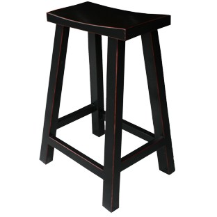 Black Lacquered High Stool