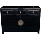 Black Three Drawers Sideboard