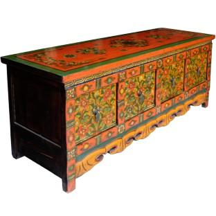 Tibetan Four Drawer Low Sideboard