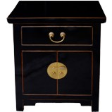 Black Lacquered Tapered Bedside Table