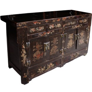 Antique Chinese Black Sideboard