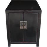Black Two Door Bedside Table