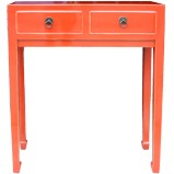 Red Two Drawer Side/Hall Table