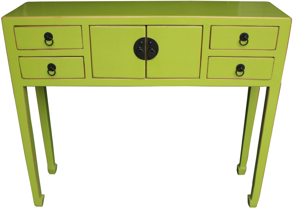 Chinese green yellow lacquer 4 drawers 2 doors hall table for Chinese furniture ebay australia