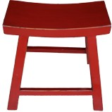 Red Lacquered Farmer Wood Stool