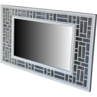White Lattice Design Rectangular Mirror - Horizontal