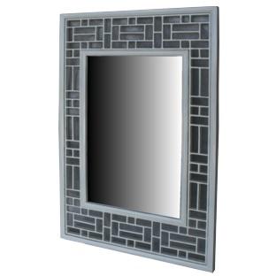 White Lattice Design Rectangular Mirror - Vertical
