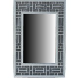 White Lattice Design Rectangular Mirror - Vertical