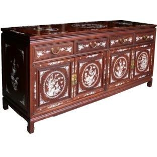 Large Rose Wood Mother of Pearl Sideboard Buffet