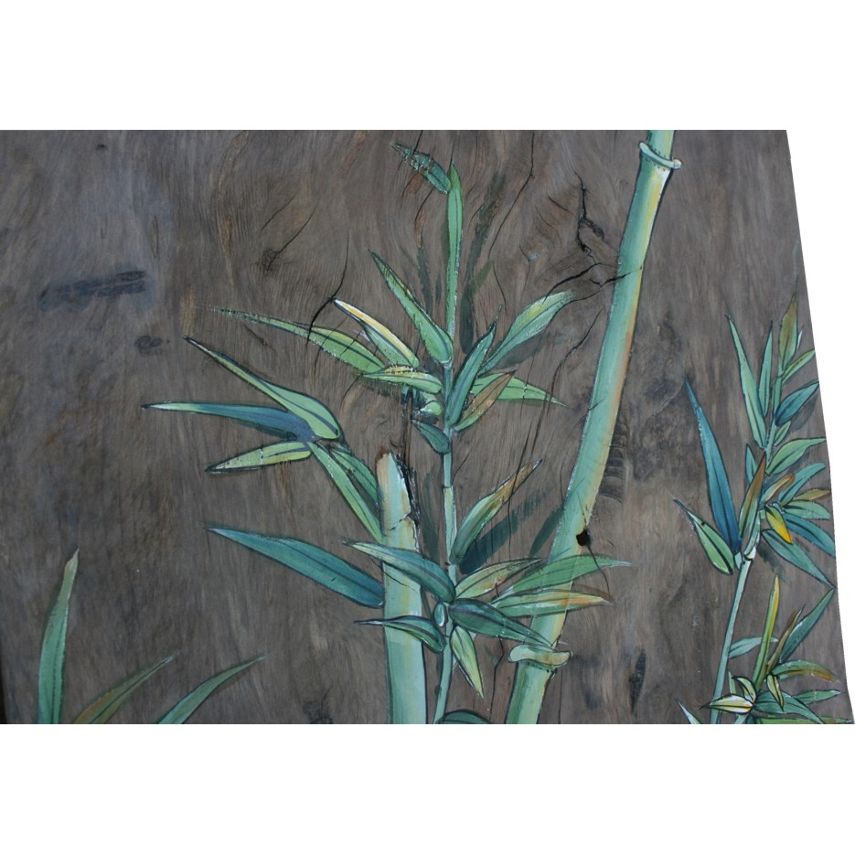 Chinese Wall Hanging Bamboo Painting On Old Wood Panel