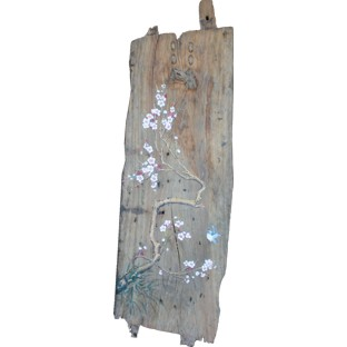 Chinese Wall Hanging- Old Boat Wood Panel w/Paintings