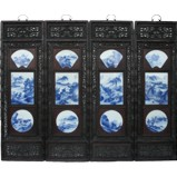 Chinese Wall Hanging- Carved Wood Panels w/ Blue and White Porcelain insert
