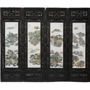 Chinese Wall Hanging- Carved Wood Panels w/Four Season Flower and Bird Porcelain insert