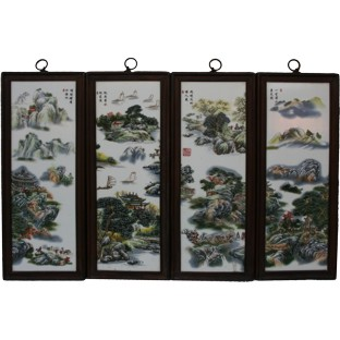 Chinese Wall Hanging- Wood Panels w/Mountain Scene Porcelain insert