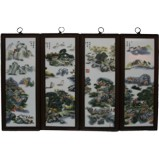 Chinese Wall Hanging Wood Panels Mountain Scene