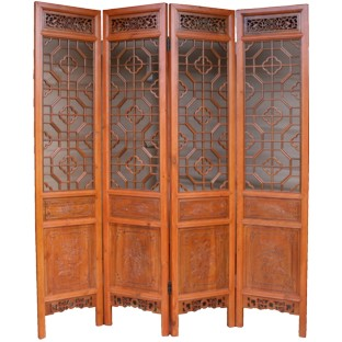 Set of 4 Chinese Double Sided Screen w/Carvings