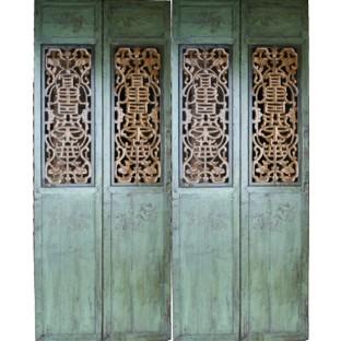 Set of 4 Original Chinese Door Panels w/Carvings
