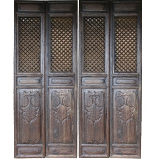 Set of 4 Original Chinese Door Panels w/Patterns & Carvings