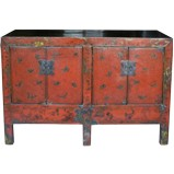 Red Butterfly Painted Sideboard