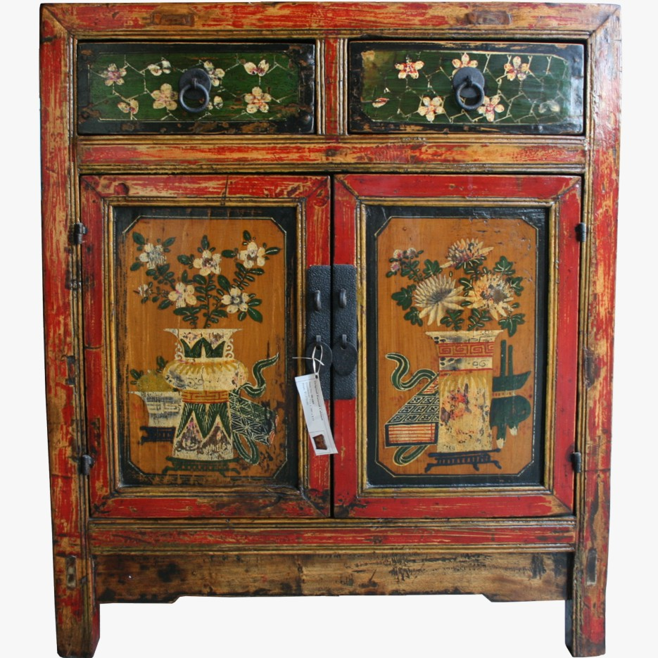 Antique chinese mongolian style painted medium cabinet 06 for Oriental furniture australia
