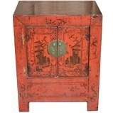 Original Red Painted Bedside Table