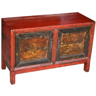 Original Red Painted Low Cabinet