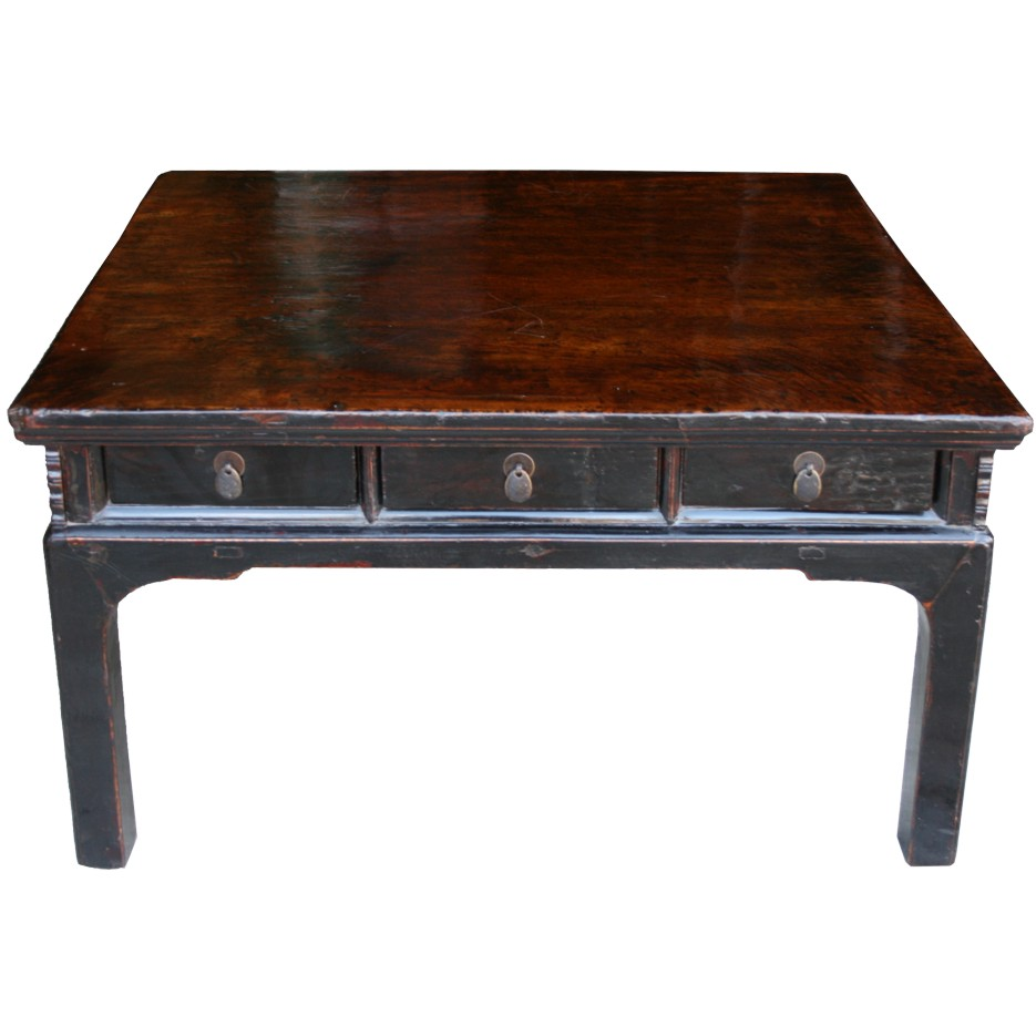 Chinese opium table for Rustic coffee table with drawers
