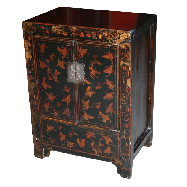 Chinese Butterfly Bedside Table Black