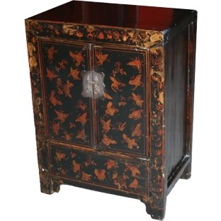Black Painted Butterfly Bedside Table