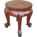 Round Red Stool with Carved Legs
