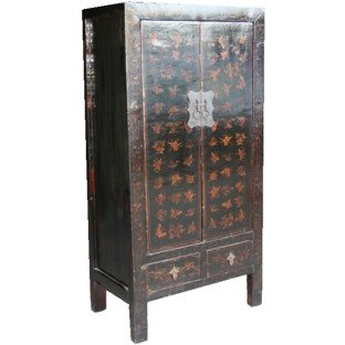 Black Butterflies Painted Cabinet