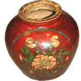 Red Painted Ginger Jar