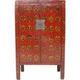 Red Chinese Arts Painted Cabinet