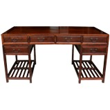 Large Burlwood Top Scholar Desk