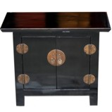 Black Lacquered Bedside Table