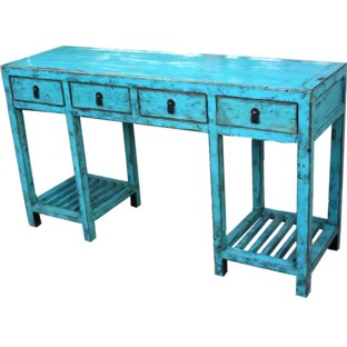manchurian Blue Four-Drawer Scholar Table