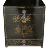 Antique Gold Painted Black Chest with Drawer