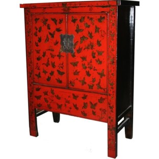 Gold Painted Red Butterflies Medium Cabinet