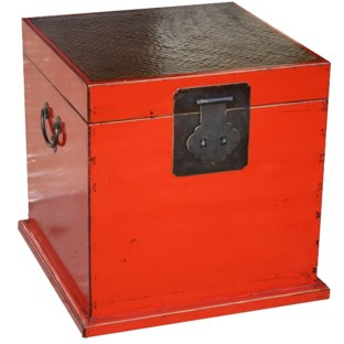 Red Rattan Top Cube Chest