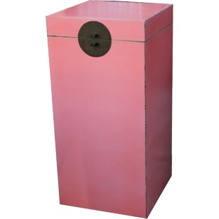 Pink Lacquered Wood Tall Box
