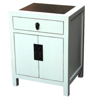 White Rattan Top Bedside Table