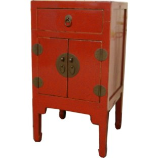 Red High Bedside Table