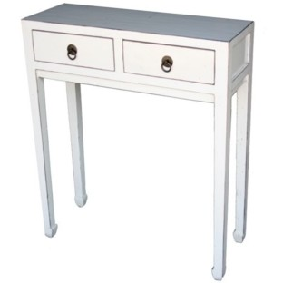 White Two-Drawer Side Table