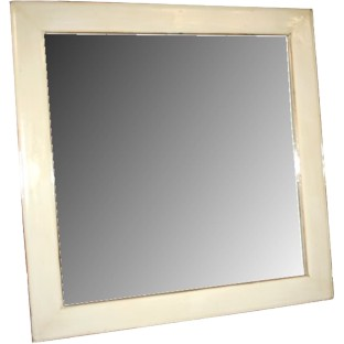 White Lacquer Wood Frame Square Mirror