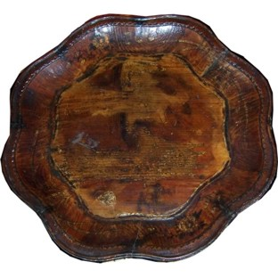 Brown Chinese Painted Wood Plate