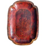 Antique Wood Plate with Gold Painting